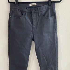 "Madewell 9"" High Rise Skinny Coated Jeans Grey 29"